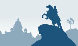 古铜色御马者彼得斯堡俄国圣徒 库存照片
