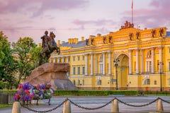 古铜色御马者 立宪法院 圣彼德堡 图库摄影