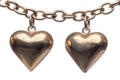 古铜色心脏形状小盒 免版税图库摄影