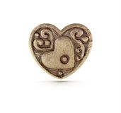 古铜色心脏标志 库存照片