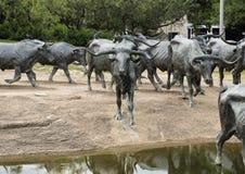 古铜色操舵雕塑先驱广场,达拉斯 库存照片