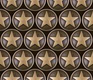 古铜色星无缝的样式 免版税库存照片