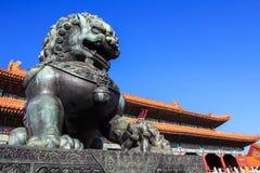 古铜色狮子 免版税库存照片