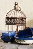 古铜色笼子和蓝色和白色罐。 图库摄影