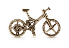古铜色自行车标志 免版税库存照片
