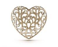 古铜色装饰心脏 免版税库存照片