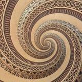 古铜色铜几何抽象装饰品螺旋分数维样式背景 金属螺旋样式作用背景漩涡形状 库存照片