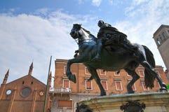 古铜色雕象。皮亚琴察。伊米莉亚罗马甘。意大利。 库存照片
