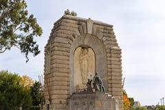 古铜色雕象叫义务的精神在全国战争Mem 库存图片