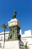 古铜色雕象在卡迪士,西班牙 免版税库存图片