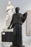 古铜色雕象在那不勒斯全国考古学博物馆,意大利 免版税库存图片