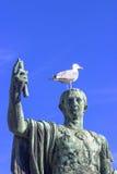 古铜色雕象涅尔瓦, emperorof古罗马,意大利 库存照片