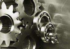 古铜色齿轮机械 免版税图库摄影