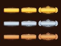 古铜,银色和金黄动画片传染媒介标题横幅 向量例证