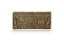 古铜100美元标志 库存图片