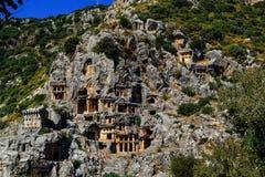 古镇在迈拉,土耳其-考古学背景 免版税库存照片