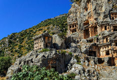 古镇在迈拉,土耳其-考古学背景 免版税图库摄影