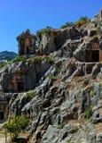 古镇在迈拉,土耳其-考古学背景 免版税库存图片