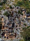 古镇在迈拉,土耳其-考古学背景 库存照片