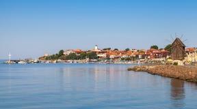 古镇Nessebar,保加利亚全景  免版税库存照片