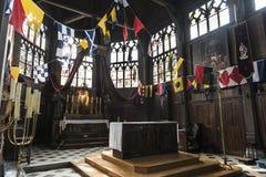 古雅矮小的中世纪教堂在翁夫勒诺曼底 免版税图库摄影