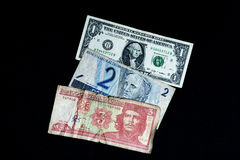 从古巴、美国和巴西的金钱 库存照片