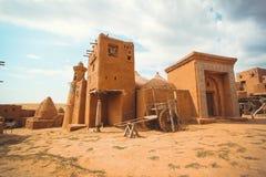 古代人的村庄在沙漠 免版税图库摄影