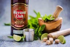 古巴人Mojito用哈瓦那俱乐部兰姆酒 免版税库存图片