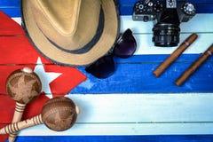 古巴关系了在国旗的项目 免版税库存照片