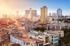 古巴哈瓦那旧城 顶视图 库存图片