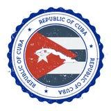 古巴地图和旗子在葡萄酒不加考虑表赞同的人  向量例证