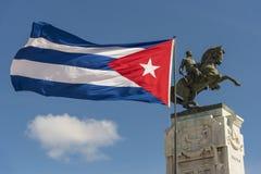 古巴安东尼奥马塞奥哈瓦那的旗子和纪念碑 免版税库存图片
