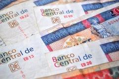 古巴货币-敞篷车比索钞票细节,金钱接近  免版税库存图片
