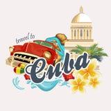 古巴旅行五颜六色的卡片概念 与减速火箭的汽车的旅行海报 与古巴文化的传染媒介例证 库存照片