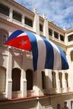 古巴旗子飞行在哈瓦那 免版税库存照片