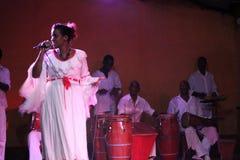 古巴歌手和她的乐队 库存图片