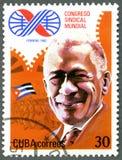 古巴- 1982年:致力第10世界工会国会,哈瓦那,展示拉扎贝纳,代表 库存照片