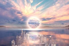 另一世界的五颜六色的日落在湖 库存照片