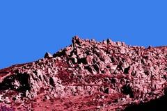 另一世界的岩层在一个海岛在颜色红外线的希腊 库存图片