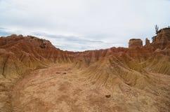 另一个行星喜欢Tatacoa沙漠疯狂的地形  库存图片