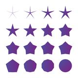 另外半径五点星集合,在白色背景隔绝的传染媒介例证 向量例证