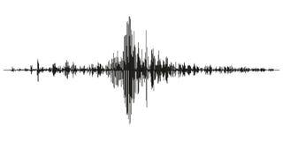 另外地震活动纪录传染媒介例证,在纸定象,立体声音频波浪图ba的地震波浪震动记录  免版税库存照片