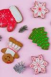 另外新年` s开胃曲奇饼在桃红色背景形成,与云杉小树枝  免版税库存图片