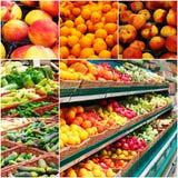另外杂货充分搁置水果和蔬菜, colorized照片拼贴画  库存照片