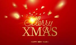 另外的卡片形式节假日 在红色背景的金模板与金黄火花 新年快乐2019年 下落的五彩纸屑和太阳光芒  皇族释放例证