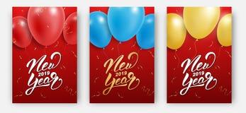 另外的多孔黏土看板卡eps格式以图例解释者包括新年度 设计版面新年2019年 与五颜六色的气球、五彩纸屑和字法的海报 皇族释放例证