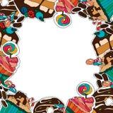 另外的多孔黏土eps格式框架以图例解释者包括向量 点心,松饼,杯形蛋糕,糖果,乳酪蛋糕, 皇族释放例证