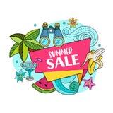 另外的背景是蓝色蝴蝶装生动被更改的标志格式销售额天空夏天的星期日于罐中 明亮的五颜六色的广告海报 例证 免版税库存图片