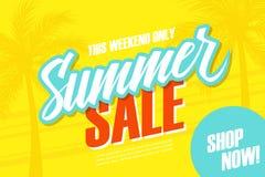 另外的背景是蓝色蝴蝶装生动被更改的标志格式销售额天空夏天的星期日于罐中 这个周末与棕榈树的特价优待横幅 现在界面 库存图片