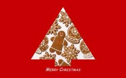 另外的背景格式xmas 由姜饼做的圣诞树 Xmas概念 圣诞快乐看板卡 复制您的文本的空间 免版税库存图片